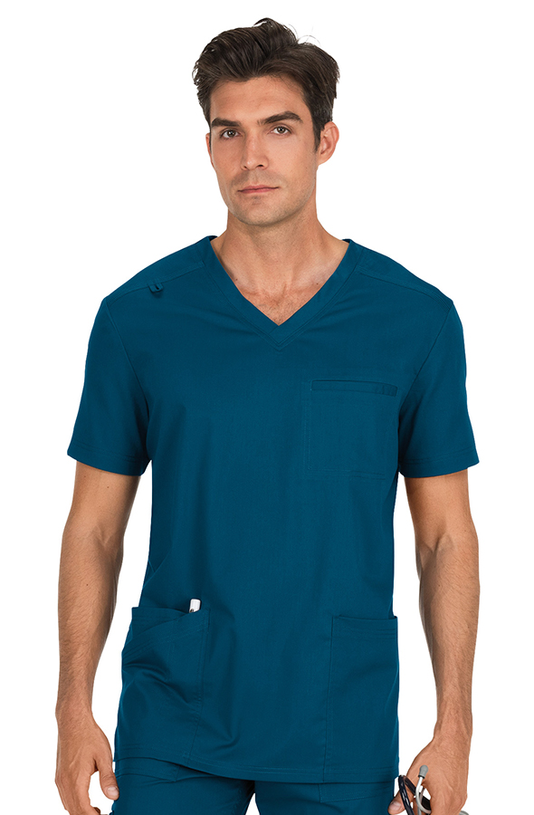 koi-stretch-tyler-scrub-top-caribbean