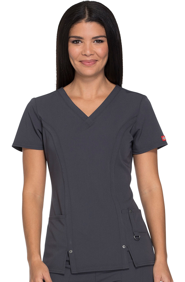 dickies-xtreme-stretch-scrub-top-dark-pewter